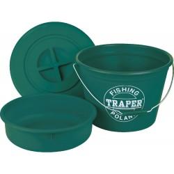 Ведро TRAPER для прикорма 25л + таз+крышка (зеленое)