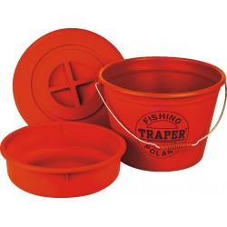 Ведро TRAPER для прикорма 25л таз+крышка(красное)